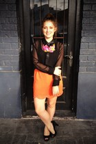 orange supre skirt - hot pink Wild Horses necklace