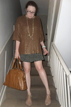 bronze Zara jumper - peach NW3 by Hobbs shoes - black Topshop dress