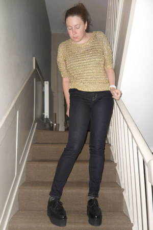 black Underground shoes - navy J Brand jeans - gold whistles sweater