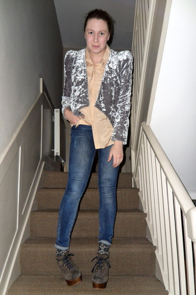 silver Primark blazer - nude Topshop shirt - navy Topshop jeans - dark gray Tabi