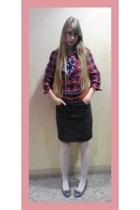 H&M top - vintage skirt - japanese uniform ruban tie - on the coach shoes - from