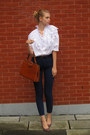 White-vintage-shirt-brick-red-vintage-bag-navy-american-apparel-pants