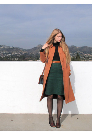 green vintage skirt - salmon thrifted vintage jacket