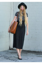 black vintage dress - black armani hat - brown Zara bag