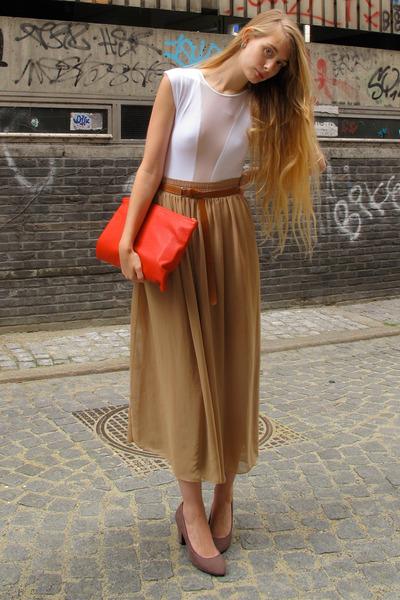 ruby red American Apparel bag - camel American Apparel skirt - white American Ap