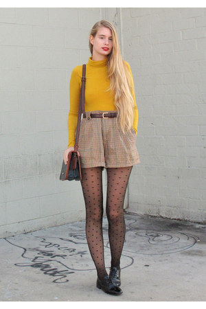 charcoal gray American Apparel tights - light brown DIY shorts
