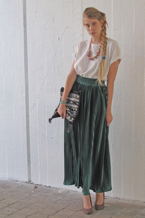 black vintage bag - dark green American Apparel skirt - white American Apparel t