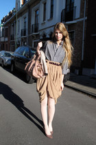 black American Apparel shirt - light pink Miu Miu bag - camel American Apparel s