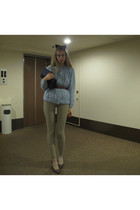 light blue vintage cardigan - dark khaki American Apparel pants - navy American