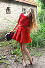 Red-zara-dress-deep-purple-vintage-bag-puce-zara-heels
