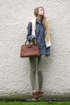 brown Cecil boots - off white handmade sweater - heather gray American Apparel s