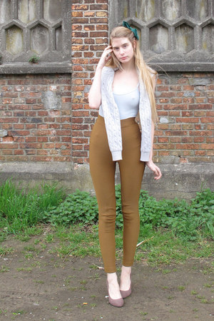 light blue American Apparel sweater - dark khaki American Apparel pants - light 