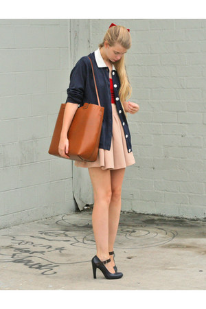 navy vintage cardigan - beige Zara skirt - red American Apparel top