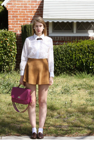 camel American Apparel skirt - white vintage shirt
