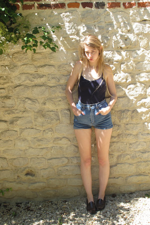 blue vintage shorts - navy American Apparel bodysuit - dark brown Haruta loafers