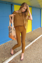 burnt orange H&M sweater - light orange Goodnight Day bag - dark khaki American