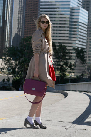 red Zara dress - beige vintage coat - silver Tahari loafers