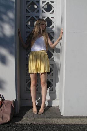 yellow American Apparel skirt - white American Apparel top - brown longchamp pur