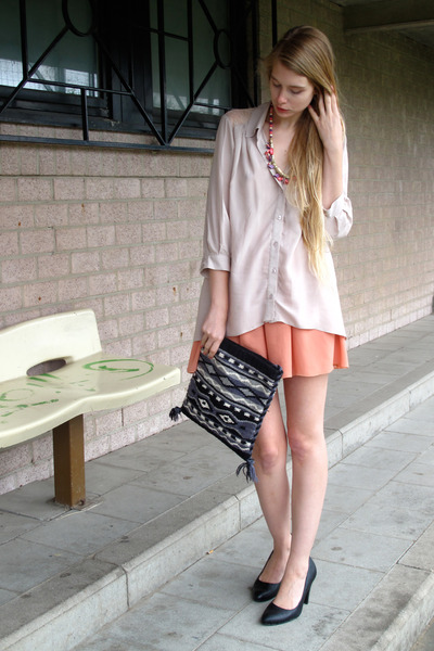 light pink H&M shirt - black vintage bag - salmon American Apparel skirt