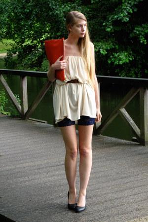 ivory American Apparel dress - red American Apparel bag - navy American Apparel