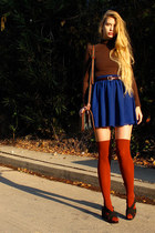 carrot orange American Apparel socks - blue American Apparel skirt