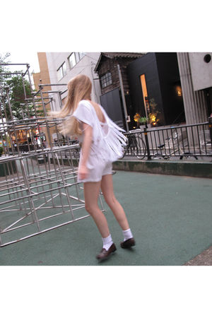 white American Apparel dress - white American Apparel socks - brown Haruta shoes