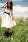 White-vintage-dress-brown-faded-glory-belt-brown-boots-brown-dooney-and-bo