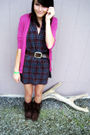 Pink-cardigan-purple-dress-brown-faded-glory-belt-brown-miley-cyrus-max-az