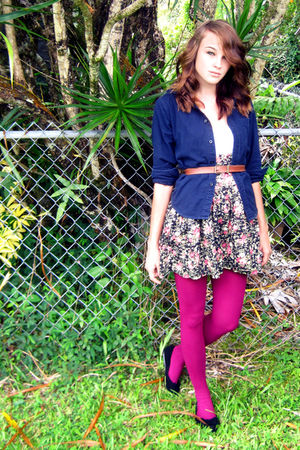 blue blazer - brown belt - black American Rag skirt - pink tights - black shoes