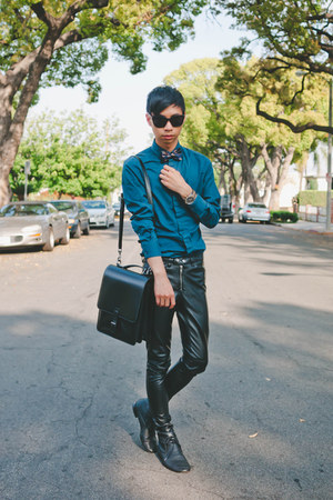 black faux leather H&amp;M pants - teal matthew williamson x h&amp;m shirt