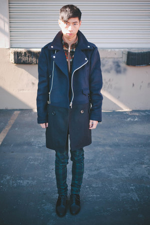 navy zipper coat Kai Aakmann coat - black mesh oxfords Alexander Wang shoes