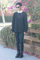 black balenciaga boots - black acne sweater - teal ted baker bag