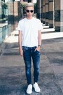 White-sneakers-acne-shoes-navy-acid-wash-g-star-raw-jeans
