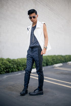 white motorcycle Zara vest - white edgy Saint Rita Parlor sunglasses