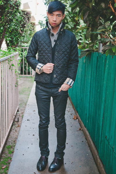 black florsheim shoes - black Cult of Individuality jeans - navy Burberry jacket