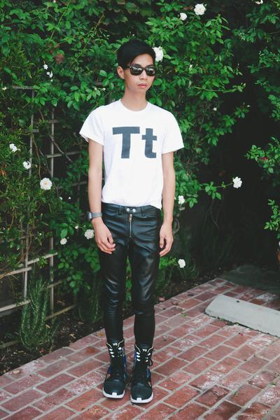 white American Apparel shirt - black high top Yohji Yamamoto boots