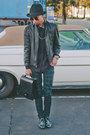 Black-topman-hat-black-vintage-jacket-black-trussardi-bag