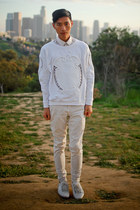 white Zara shoes - white American Apparel jeans - white baroque Zara sweater