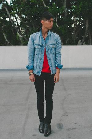 sky blue distressed Margiela x HM jacket