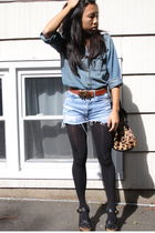 blue Levis cutoffs shorts - blue CurrentElliott shirt - black balenciaga shoes -