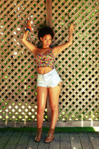 shorts - crop top floral garage top - chunky spiked Forever 21 bracelet