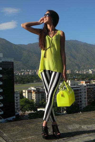 black Agaci heels - Agaci leggings - yellow Furla bag - yellow Express blouse