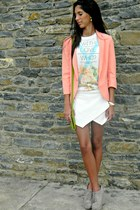 white pull&bear blouse - heather gray PacSun boots - salmon melao blazer
