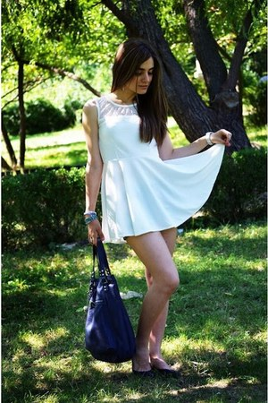 white OASAP dress - navy armani bag - navy Zara flats