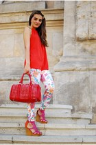 studded bag pull&bear bag - Zara pants - leather Bershka sandals - Zara top