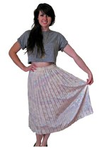 Vtg Crystal Pleat Midi Skirt, Pastel Confetti Graffiti Print, MEDIUM / LARGE
