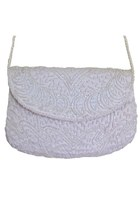 Vintage White Beaded Purse / Small Clutch