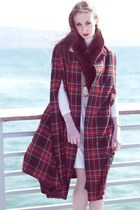 Vintage Wool Tartan Plaid Long Cape Poncho Coat