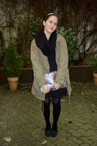 black H&M dress - olive green lindex jacket - black Primark scarf