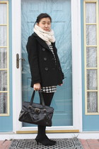 black Delias coat - New York Collection dress - handmade scarf